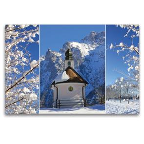 Premium Textil-Leinwand 120 x 80 cm Quer-Format Bergwinter Oberbayern Kapelle im Karwendel | Wandbild, HD-Bild auf Keilrahmen, Fertigbild auf hochwertigem Vlies, Leinwanddruck von SusaZoom
