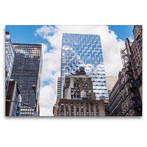 Premium Textil-Leinwand 120 x 80 cm Quer-Format Blick von der Highline auf die Gegensätze von Manhattan – Wasserspeicher und Feuerleitern | Wandbild, HD-Bild auf Keilrahmen, Fertigbild auf hochwertigem Vlies, Leinwanddruck von Michael Ermel