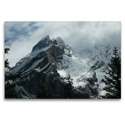 Premium Textil-Leinwand 120 x 80 cm Quer-Format Blüemlisalp in den Wolken | Wandbild, HD-Bild auf Keilrahmen, Fertigbild auf hochwertigem Vlies, Leinwanddruck von kattobello