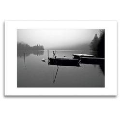 Premium Textil-Leinwand 120 x 80 cm Quer-Format Boote im Lechstausee | Wandbild, HD-Bild auf Keilrahmen, Fertigbild auf hochwertigem Vlies, Leinwanddruck von Martina Marten
