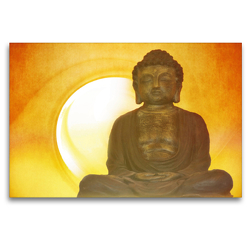 Premium Textil-Leinwand 120 x 80 cm Quer-Format Buddha in aller Stille | Wandbild, HD-Bild auf Keilrahmen, Fertigbild auf hochwertigem Vlies, Leinwanddruck von Claudia Burlager