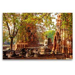Premium Textil-Leinwand 120 x 80 cm Quer-Format Buddha Statue im Wat Mahathat   Wandbild, HD-Bild auf Keilrahmen, Fertigbild auf hochwertigem Vlies, Leinwanddruck von Ralf Wittstock