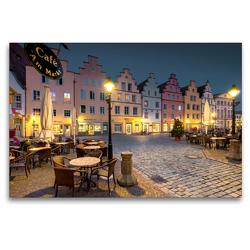 Premium Textil-Leinwand 120 x 80 cm Quer-Format Bürgerhäuser Marktplatz Osnabrück im Abendlicht   Wandbild, HD-Bild auf Keilrahmen, Fertigbild auf hochwertigem Vlies, Leinwanddruck von Kurt Krause