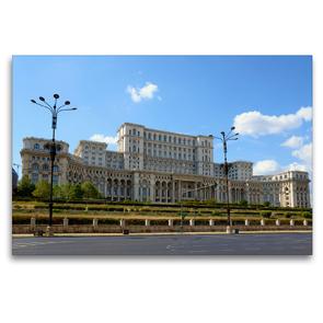Premium Textil-Leinwand 120 x 80 cm Quer-Format Bukarest – Parlamentspalast | Wandbild, HD-Bild auf Keilrahmen, Fertigbild auf hochwertigem Vlies, Leinwanddruck von Frauke Scholz