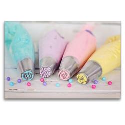 Premium Textil-Leinwand 120 x 80 cm Quer-Format Bunte Cremen für Torten und Cupcakes | Wandbild, HD-Bild auf Keilrahmen, Fertigbild auf hochwertigem Vlies, Leinwanddruck von Rose Hurley