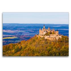 Premium Textil-Leinwand 120 x 80 cm Quer-Format Burg Hohenzollern bei Hechingen | Wandbild, HD-Bild auf Keilrahmen, Fertigbild auf hochwertigem Vlies, Leinwanddruck von Werner Dieterich