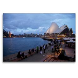 Premium Textil-Leinwand 120 x 80 cm Quer-Format Circular Quay und Opera Bar in Sydney | Wandbild, HD-Bild auf Keilrahmen, Fertigbild auf hochwertigem Vlies, Leinwanddruck von Peter Schickert