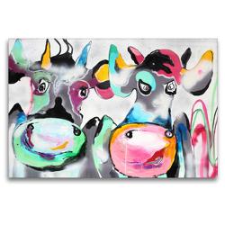Premium Textil-Leinwand 120 x 80 cm Quer-Format Cow Emmi & Bull Eddi | Wandbild, HD-Bild auf Keilrahmen, Fertigbild auf hochwertigem Vlies, Leinwanddruck von Elena Ennikova