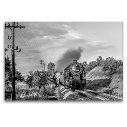 Premium Textil-Leinwand 120 x 80 cm Quer-Format Dampflok 95 0015 bei Krölpa, Aug. 1979 | Wandbild, HD-Bild auf Keilrahmen, Fertigbild auf hochwertigem Vlies, Leinwanddruck von Manfred Dietsch