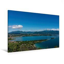 Premium Textil-Leinwand 120 x 80 cm Quer-Format Die Bucht von Manerba del Garda | Wandbild, HD-Bild auf Keilrahmen, Fertigbild auf hochwertigem Vlies, Leinwanddruck von Britta Laser von Laser,  Britta