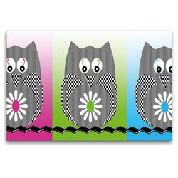 Premium Textil-Leinwand 120 x 80 cm Quer-Format Die drei Eulen | Wandbild, HD-Bild auf Keilrahmen, Fertigbild auf hochwertigem Vlies, Leinwanddruck von Youlia