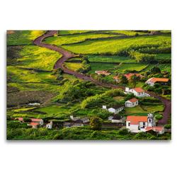 Premium Textil-Leinwand 120 x 80 cm Quer-Format Die Faja dos Cubres auf Sao Jorge, Azoren | Wandbild, HD-Bild auf Keilrahmen, Fertigbild auf hochwertigem Vlies, Leinwanddruck von Martin Zwick