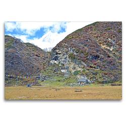 Premium Textil-Leinwand 120 x 80 cm Quer-Format Die Pungyen Gompa nahe des Manaslu bei Samagaon auf 4060 m Höhe ist heute unbewohnt | Wandbild, HD-Bild auf Keilrahmen, Fertigbild auf hochwertigem Vlies, Leinwanddruck von N N