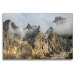 Premium Textil-Leinwand 120 x 80 cm Quer-Format Die wilden Gipfel der Pala Gruppe über dem Val Venegia in den Dolomiten des Trentino | Wandbild, HD-Bild auf Keilrahmen, Fertigbild auf hochwertigem Vlies, Leinwanddruck von Martin Zwick