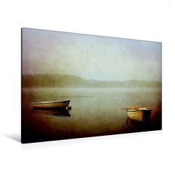 Premium Textil-Leinwand 120 x 80 cm Quer-Format Die zwei Boote | Wandbild, HD-Bild auf Keilrahmen, Fertigbild auf hochwertigem Vlies, Leinwanddruck von Heike Hultsch von Hultsch,  Heike
