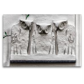 Premium Textil-Leinwand 120 x 80 cm Quer-Format Drei Eulen, Wanddekoration am Sezessionsgebäude | Wandbild, HD-Bild auf Keilrahmen, Fertigbild auf hochwertigem Vlies, Leinwanddruck von Werner Braun