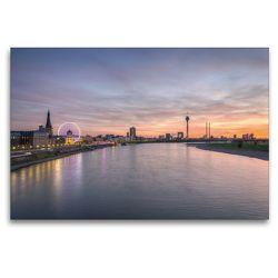 Premium Textil-Leinwand 120 x 80 cm Quer-Format Düsseldorf Skyline   Wandbild, HD-Bild auf Keilrahmen, Fertigbild auf hochwertigem Vlies, Leinwanddruck von Michael Valjak