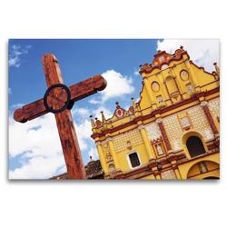 Premium Textil-Leinwand 120 x 80 cm Quer-Format Ein Holzkreuz vor der Kathedrale San Cristobal de las Casas   Wandbild, HD-Bild auf Keilrahmen, Fertigbild auf hochwertigem Vlies, Leinwanddruck von CALVENDO