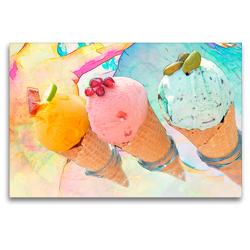 Premium Textil-Leinwand 120 x 80 cm Quer-Format Eiswaffeln | Wandbild, HD-Bild auf Keilrahmen, Fertigbild auf hochwertigem Vlies, Leinwanddruck von Liselotte Brunner-Klaus