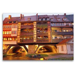 Premium Textil-Leinwand 120 x 80 cm Quer-Format Erfurts Krämerbrücke | Wandbild, HD-Bild auf Keilrahmen, Fertigbild auf hochwertigem Vlies, Leinwanddruck von Flori0