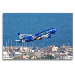 Premium Textil-Leinwand 120 x 80 cm Quer-Format Eurowings Airbus A320 auf Mallorca | Wandbild, HD-Bild auf Keilrahmen, Fertigbild auf hochwertigem Vlies, Leinwanddruck von Markus Mainka