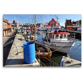 Premium Textil-Leinwand 120 x 80 cm Quer-Format Fischerboote an der Wismarer Fischerpier   Wandbild, HD-Bild auf Keilrahmen, Fertigbild auf hochwertigem Vlies, Leinwanddruck von Holger Felix