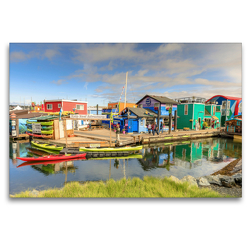 Premium Textil-Leinwand 120 x 80 cm Quer-Format Fisherman's Wharf, ein Juwel im Innenhafen von Victoria, BC.   Wandbild, HD-Bild auf Keilrahmen, Fertigbild auf hochwertigem Vlies, Leinwanddruck von Adrian Geering