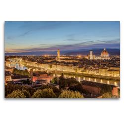 Premium Textil-Leinwand 120 x 80 cm Quer-Format Florenz am Abend | Wandbild, HD-Bild auf Keilrahmen, Fertigbild auf hochwertigem Vlies, Leinwanddruck von Michael Valjak
