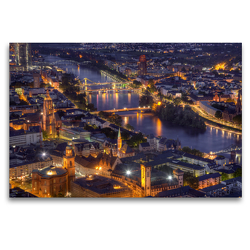 Premium Textil-Leinwand 120 x 80 cm Quer-Format Frankfurt/Main – Fluß Main | Wandbild, HD-Bild auf Keilrahmen, Fertigbild auf hochwertigem Vlies, Leinwanddruck von TJPhotography (Thorsten Jung)