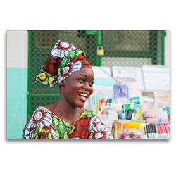 Premium Textil-Leinwand 120 x 80 cm Quer-Format Freundliche Frau vor ihrem Geschäft in Cotonou | Wandbild, HD-Bild auf Keilrahmen, Fertigbild auf hochwertigem Vlies, Leinwanddruck von Gabriele Gerner-Haudum