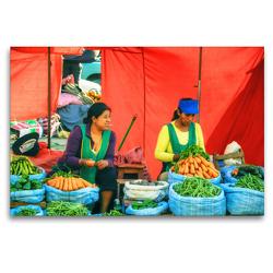 Premium Textil-Leinwand 120 x 80 cm Quer-Format Frisches Gemüse für Salat und Eintopf und der Lolly im Mund – Marktimpression | Wandbild, HD-Bild auf Keilrahmen, Fertigbild auf hochwertigem Vlies, Leinwanddruck von Bettina Hackstein