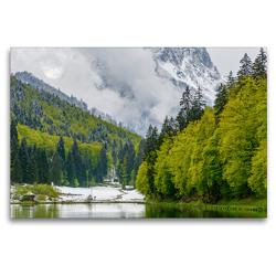 Premium Textil-Leinwand 120 x 80 cm Quer-Format Frühlingserwachen am See | Wandbild, HD-Bild auf Keilrahmen, Fertigbild auf hochwertigem Vlies, Leinwanddruck von Dieter-M. Wilczek
