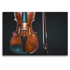 Premium Textil-Leinwand 120 x 80 cm Quer-Format Geige mit Geigenbogen | Wandbild, HD-Bild auf Keilrahmen, Fertigbild auf hochwertigem Vlies, Leinwanddruck von Renate Bleicher