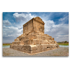 Premium Textil-Leinwand 120 x 80 cm Quer-Format Grabmal von Kyros II., Pasargadae | Wandbild, HD-Bild auf Keilrahmen, Fertigbild auf hochwertigem Vlies, Leinwanddruck von Guenter Guni