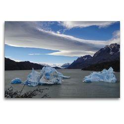 Premium Textil-Leinwand 120 x 80 cm Quer-Format Grey Lake/Torres del Paine-Nationalpark   Wandbild, HD-Bild auf Keilrahmen, Fertigbild auf hochwertigem Vlies, Leinwanddruck von Flori0