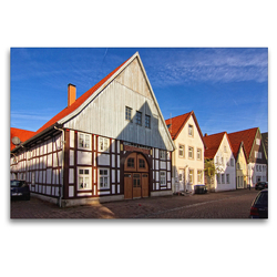 Premium Textil-Leinwand 120 x 80 cm Quer-Format Häuserzeile in der Altstadt | Wandbild, HD-Bild auf Keilrahmen, Fertigbild auf hochwertigem Vlies, Leinwanddruck von Detlef Thiemann / DT-Fotografie