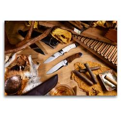 Premium Textil-Leinwand 120 x 80 cm Quer-Format Handgefertigte Jagdmesser – Arrangement | Wandbild, HD-Bild auf Keilrahmen, Fertigbild auf hochwertigem Vlies, Leinwanddruck von Georg Hergenhan