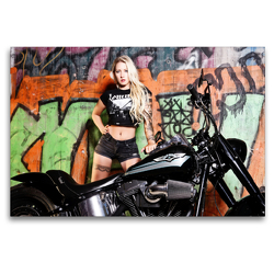 Premium Textil-Leinwand 120 x 80 cm Quer-Format Harley Davidson Screamin Eagle Fat Boy FLSTF Bj. 2007   Wandbild, HD-Bild auf Keilrahmen, Fertigbild auf hochwertigem Vlies, Leinwanddruck von Udo Talmon