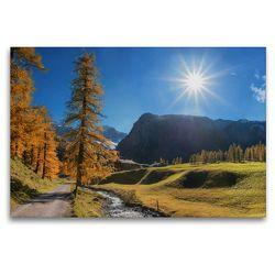 Premium Textil-Leinwand 120 x 80 cm Quer-Format Herbstlandschaft Malerisches Sertigtal in den Schweizer Alpen | Wandbild, HD-Bild auf Keilrahmen, Fertigbild auf hochwertigem Vlies, Leinwanddruck von SusaZoom