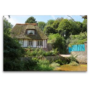 Premium Textil-Leinwand 120 x 80 cm Quer-Format Historisches Haus in Veules les Roses | Wandbild, HD-Bild auf Keilrahmen, Fertigbild auf hochwertigem Vlies, Leinwanddruck von Roland Brack