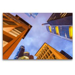 Premium Textil-Leinwand 120 x 80 cm Quer-Format Hochhäuser von Banken und Versicherungen im Bankenviertel in Frankfurt am Main | Wandbild, HD-Bild auf Keilrahmen, Fertigbild auf hochwertigem Vlies, Leinwanddruck von Werner Dieterich