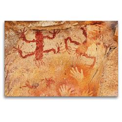 Premium Textil-Leinwand 120 x 80 cm Quer-Format Höhlenmalereien Cuevas de las Manos | Wandbild, HD-Bild auf Keilrahmen, Fertigbild auf hochwertigem Vlies, Leinwanddruck von Michael Kurz
