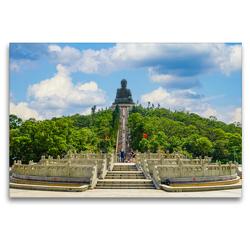 Premium Textil-Leinwand 120 x 80 cm Quer-Format Hongkong Bilder einer Metropole | Wandbild, HD-Bild auf Keilrahmen, Fertigbild auf hochwertigem Vlies, Leinwanddruck von Dirk Meutzner