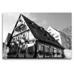 Premium Textil-Leinwand 120 x 80 cm Quer-Format Hotel Schiefes Haus im Ulmer Fischerviertel | Wandbild, HD-Bild auf Keilrahmen, Fertigbild auf hochwertigem Vlies, Leinwanddruck von kattobello