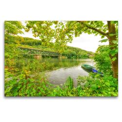 Premium Textil-Leinwand 120 x 80 cm Quer-Format Idyllischer Blick auf die alte Eisenbahnbrücke über der Ruhr | Wandbild, HD-Bild auf Keilrahmen, Fertigbild auf hochwertigem Vlies, Leinwanddruck von Bettina Hackstein