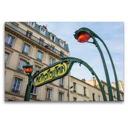 Premium Textil-Leinwand 120 x 80 cm Quer-Format Jugendstil-Metroschild mit Lampen in Paris | Wandbild, HD-Bild auf Keilrahmen, Fertigbild auf hochwertigem Vlies, Leinwanddruck von Christian Müller