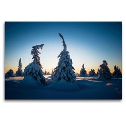 Premium Textil-Leinwand 120 x 80 cm Quer-Format Karelien in der untergehenden Sonne | Wandbild, HD-Bild auf Keilrahmen, Fertigbild auf hochwertigem Vlies, Leinwanddruck von Rolf Dietz