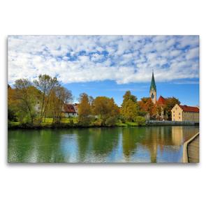 Premium Textil-Leinwand 120 x 80 cm Quer-Format Kempten im Allgäu, die älteste Stadt Deutschlands. | Wandbild, HD-Bild auf Keilrahmen, Fertigbild auf hochwertigem Vlies, Leinwanddruck von Werner Thoma