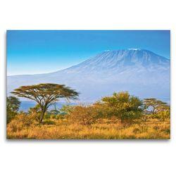Premium Textil-Leinwand 120 x 80 cm Quer-Format Kilimandscharo bei Sonnenaufgang | Wandbild, HD-Bild auf Keilrahmen, Fertigbild auf hochwertigem Vlies, Leinwanddruck von Jürgen Feuerer