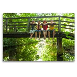 Premium Textil-Leinwand 120 x 80 cm Quer-Format Kinder sitzen auf einer Brücke | Wandbild, HD-Bild auf Keilrahmen, Fertigbild auf hochwertigem Vlies, Leinwanddruck von Siegfried Kuttig
